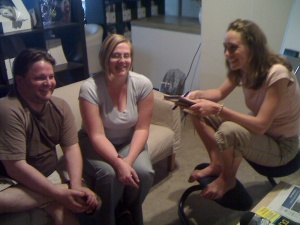 Shane Birley, Susannah Gardner and Rebecca Coleman at the Left Right Minds Studio.