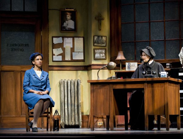 Michèle Lonsdale Smith as Mrs. Muller, and Gabrielle Rose as Sister Aloysius, in the Arts Club Theatre Company's production of Doubt. Photo by David Cooper
