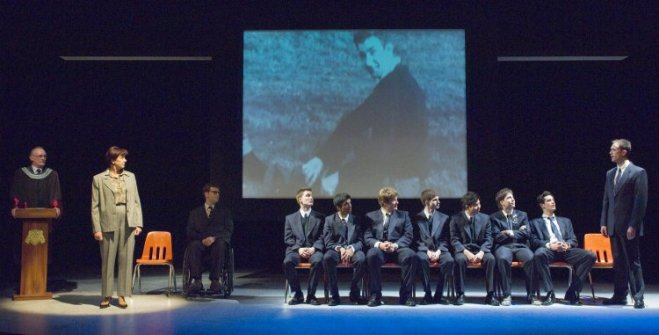 The complete cast of The History Boys. Photo by David Cooper.