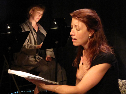 Stephanie Belding and Christine Willes in a staged reading of Herr Beckmann's People